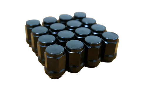 16 Pack of BLACK Standard Threaded Golf Cart Lug Nuts (Club Car and EZGO Golf Carts)