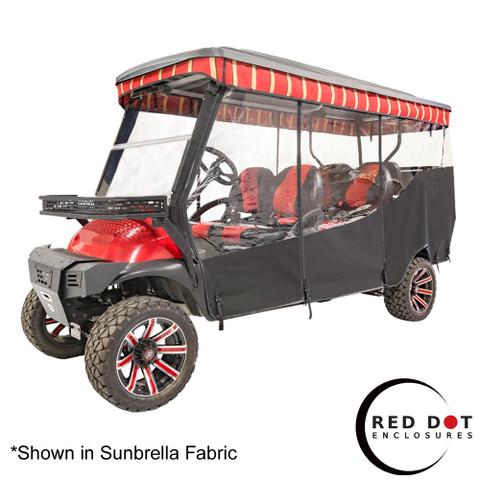 "Red Dot 3-Sided Stock Sunbrella Enclosure & Striped Valance for Club Car Precedent 120"" Triple Track"