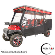 "Red Dot 3-Sided Black Sunbrella Enclosure & Valance for Club Car Precedent Triple Track 120"" Top"