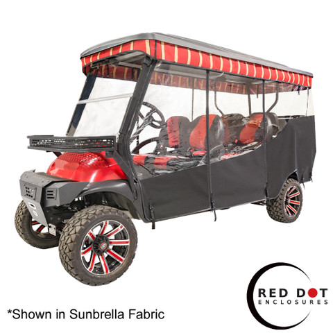 """Red Dot 3-Sided Ivory Vinyl Enclosure & Valance for Club Car Precedent Triple Track 120"""" Top"""