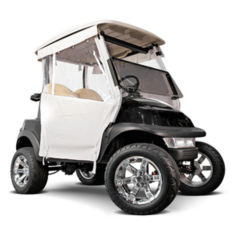 White 3-Sided Straight Back Track-Style Club Car DS Enclosure (Fits 2000-Up)