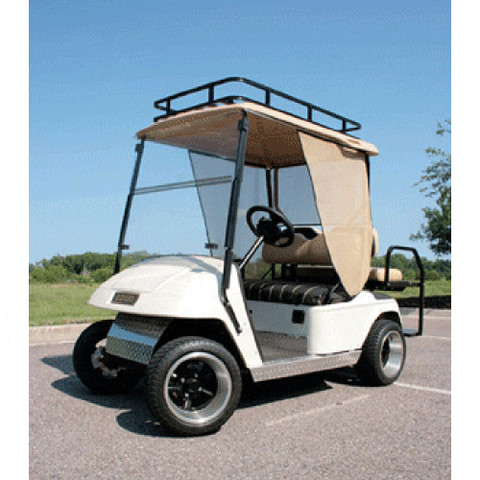 Club Car DS Sun Screen Kit W/Aluminum Tracks and Black Curtains (Fits 2000.5-Up)