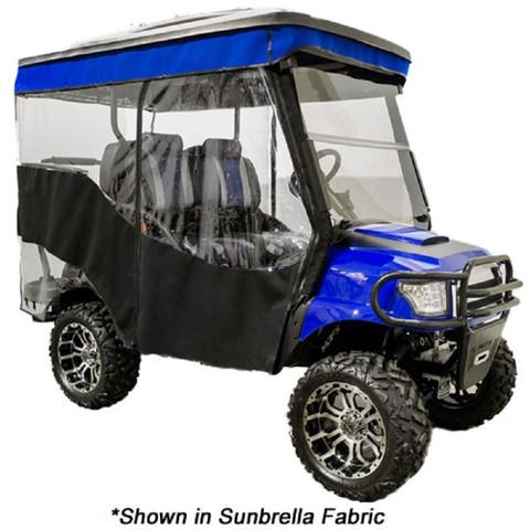 "3-Sided Custom Sunbrella Enclosure & Valance for EZGO RXV Triple Track 84"" Top (Fits 2008-Up)"