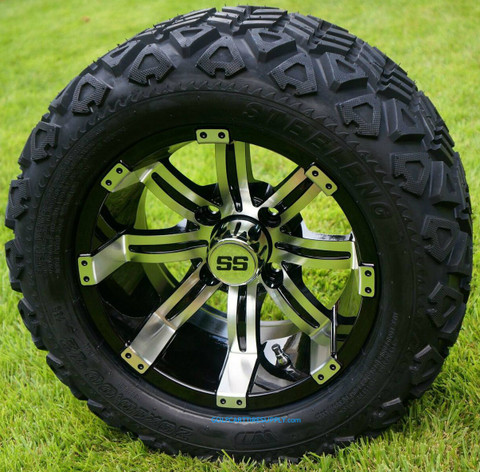 """12"""" TEMPEST Machined Aluminum Wheels and 20x10-12"""" All Terrain Tires Combo"""