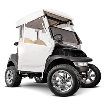 White 3-Sided Straight Back Over The Top EZGO TXT/T48 Enclosure (Fits 2014-Up)