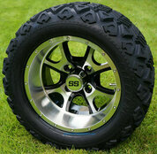 "12"" PREDATOR Machined Aluminum Wheels and 20x10-12"" DOT All Terrain Tires Combo - Set of 4"
