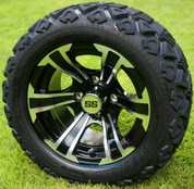 """12"""" BLADE Black/Machined Aluminum Wheels and 20x10-12"""" DOT All Terrain Tires Combo - Set of 4"""