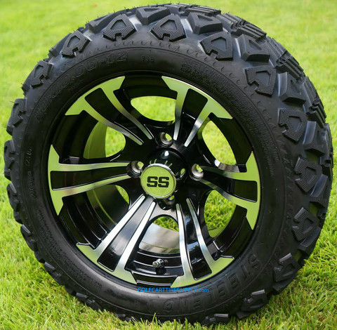 "12"" BLADE Black/Machined Aluminum Wheels and 20x10-12"" DOT All Terrain Tires Combo - Set of 4"