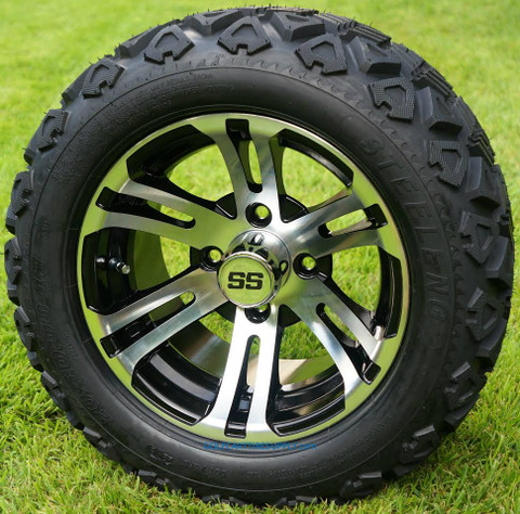 "12"" BULLDOG Machined/ Black Aluminum Wheels and 20x10-12"" DOT All Terrain Tires Combo - Set of 4"