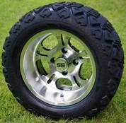"12"" LIGHTSIDE Machined Aluminum Wheels and 20x10-12"" DOT All Terrain Tires Combo - Set of 4"