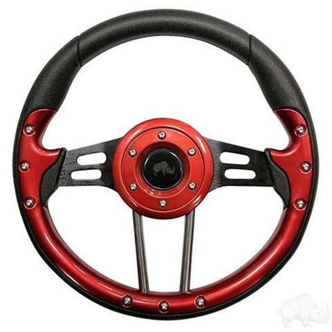 "EZ-GO 13"" Aviator4 Red Grip Golf Cart Steering Wheel w/ Black Spokes (Fits all Years)"