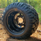 "10"" BLACK Steel Wheels and 18x9-10"" DOT STINGER All Terrain Tires Combo - Set of 4 (Fits All Carts!)"