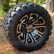 "10"" LANCER Golf Cart Wheels and 18x9-10 DOT Stinger All Terrain Golf Cart Tires Combo - Set of 4 (Fits All Carts!)"