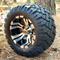 "10"" VAMPIRE Machined/Black Golf Cart Wheels and 18x9-10 DOT Stinger All Terrain Golf Cart Tires Combo - Set of 4"