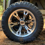 "12"" TRANSFORMER Machined/Black Wheels and 20x10-12 DOT STINGER All Terrain Tires Combo - Set of 4"