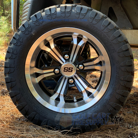 """12"""" TRANSFORMER Machined/Black Wheels and 20x10-12 DOT STINGER All Terrain Tires Combo - Set of 4"""