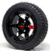 "12"" GT Gloss Black Aluminum Golf Cart Wheels and 215/40-12 DOT Low Profile Golf Cart Tires Combo - Set of 4"