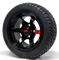 "12"" GT Gloss Black Aluminum Golf Cart Wheels and 215/40-12 DOT Low Profile Golf Cart Tires Combo - Set of 4"