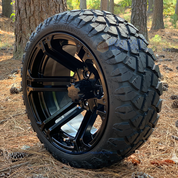 "14"" Terminator Gloss Black Wheels and STINGER 20x8.5-14"" DOT All Terrain Golf Cart Tires Combo - Set of 4"