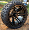 "14"" Terminator Gloss Black Wheels and STINGER 20x8.5-14"" DOT All Terrain Golf Cart Tires Combo - Set of 4"