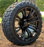 "14"" VOODOO Gloss Black Wheels and 20x8.50-14 STINGER DOT All Terrain Tires Combo - Set of 4"