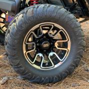 "12"" LIZARD Machined/Black Aluminum Wheels and 22x11-12 Crawler All Terrain Tires"