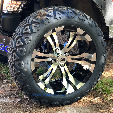 "15"" VAMPIRE Machined/ Black Wheels and 23x10-15"" DOT All Terrain Tires Combo - Set of 4"