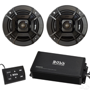 "Boss 4x100 Watt Marine Grade Amp and Polk 5.25"" Speakers Bluetooth Audio Package"
