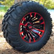 "12"" MATADOR Black/Red Wheels and 22x11-12 Crawler All Terrain Tires Combo - Set of 4"