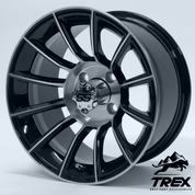 "14"" TITAN Black/Machined Golf Cart Wheels"