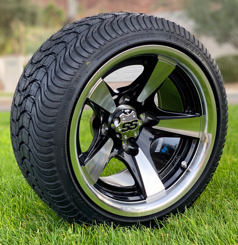 "12"" BULLITT Machined / Black Golf Cart Wheels and Tires Combo"