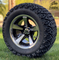 "12"" BULLITT Machined/Black Aluminum Wheels and 23x10.5-12 DOT All Terrain Tires Combo"