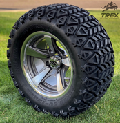 "12"" BULLITT Gunmetal/Machined Aluminum Wheels and 23x10.5-12 DOT All Terrain Tires Combo"