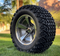 "12"" BULLITT Gunmetal/Machined Aluminum Wheels and 23x10.5-12 DOT All Terrain Tires Combo"