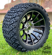 "14"" TITAN Machined/Black Aluminum Wheels and 23x10-14 DOT All Terrain Tires Combo"