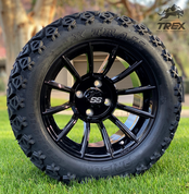 "14"" TITAN Gloss Black Aluminum Wheels and 23x10-14 DOT All Terrain Tires"