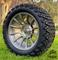 "14"" TITAN Gunmetal/ Machined Aluminum Wheels and 23x10-14 DOT All Terrain Tires Combo"