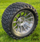 "14"" TITAN Gunmetal/ Machined Aluminum Wheels and 23x10-14 DOT All Terrain Tires Combo"