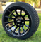 "14"" TITAN Gloss Black Aluminum Wheels and 205/30-14 Low Profile DOT Tires Combo"
