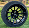 "14"" TITAN Gloss Black Aluminum Wheels and 205/30-14 Low Profile DOT Tires Combo"