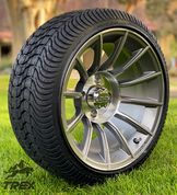 "14"" TITAN Gunmetal/Machined Aluminum Wheels and 205/30-14 Low Profile DOT Tires Combo"