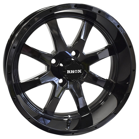 "15"" TOMAHAWK Gloss Black Aluminum Golf Cart Wheels - Set of 4"