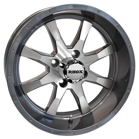 "15"" TOMAHAWK Gunmetal/Machined Aluminum Golf Cart Wheels - Set of 4"