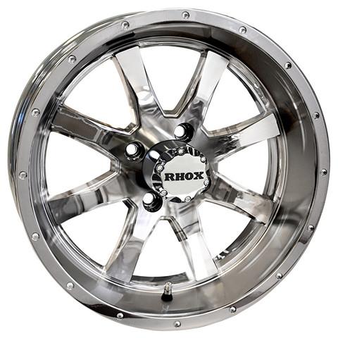 "15"" TOMAHAWK CHROME Aluminum Golf Cart Wheels - Set of 4"
