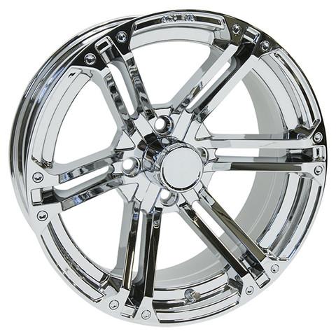 "15"" TERMINATOR Chrome Aluminum Golf Cart Wheels - Set of 4"