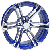 "15"" TERMINATOR BLUE/Machined Aluminum Golf Cart Wheels - Set of 4"