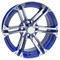 "15"" TERMINATOR BLUE/Machined Aluminum Golf Cart Wheels - Set of 4"
