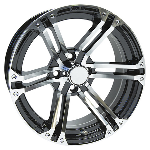 "15"" TERMINATOR Machined/Black Aluminum Golf Cart Wheels - Set of 4"
