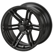 "15"" TERMINATOR Matte Black Aluminum Golf Cart Wheels - Set of 4"