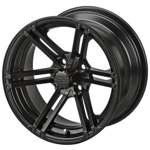 "15"" TERMINATOR Matte Black Aluminum Golf Cart Wheels - Set of 4"